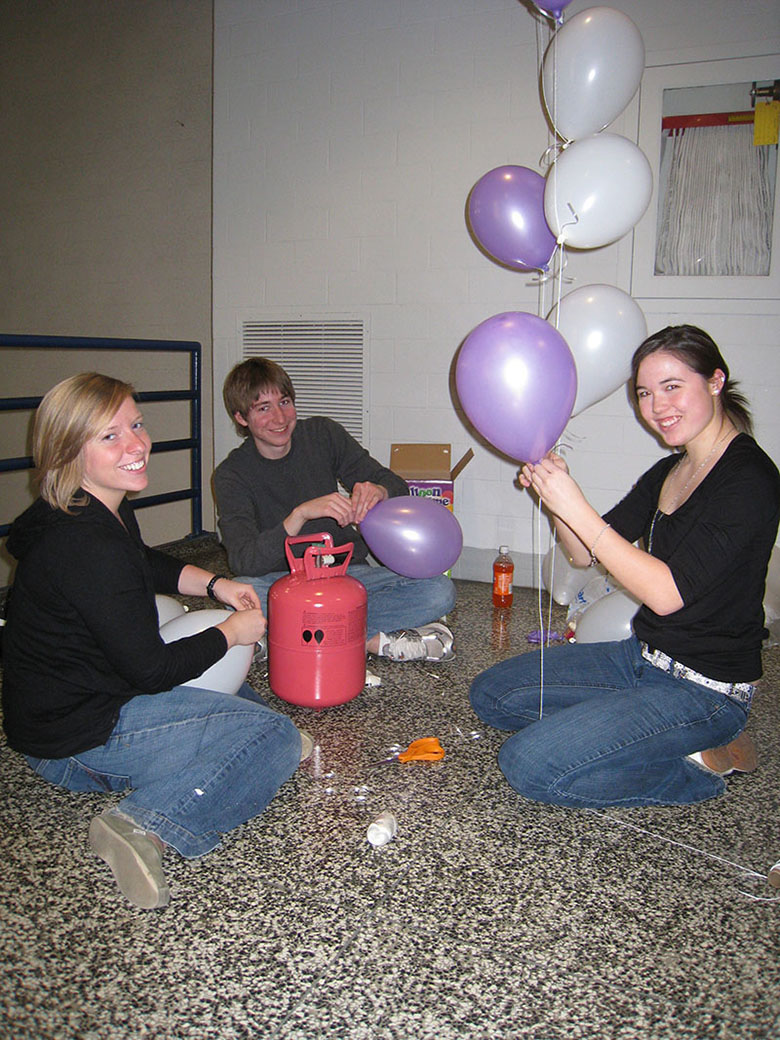 dance marathon at case western reserve university dancing with the CWRU stars balloon prep